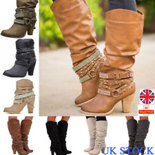 UK Womens Mid Calf Boots Rivet Buckle Block High Heels Pumps Chunky Shoes Size