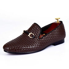 Brown Woven Leather Loafers Woven Rope Mens Buckle Shoes