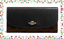 EASTER GIFT NWT COACH Signature Canvas Checkbook Wallet GOLD BLACK BROWN