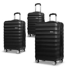 3 x Hard Shell Black Travel Luggage 4 Wheel Cabin Trolley Suitcase TSA Lock 20 2