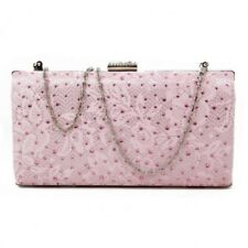 SALE New Ladies Shiny Satin Evening Clutch Bag Trim Wedding Party Handbag