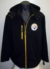PITTSBURGH STEELERS Soft Shell Jacket with Removable Hood BLACK Size: LG