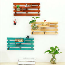 Rustic Wooden Shelving Display Shelves Home Storage Unit Wood Shelf with Hook