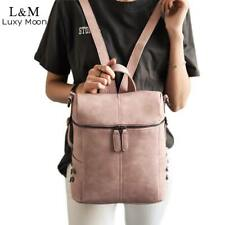 Simple Style Backpack Women PU Leather Backpacks For Teenage Girls School Bags F