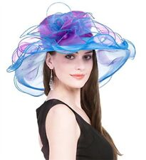 Women's Kentucky Derby Sun Hat Church Cocktail Party Wedding Dress Organza Hat