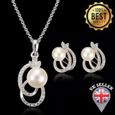 925 Silver Bridal Crystal Pearl Pendant Necklace Stud Earring Jewelry Set Chain