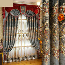 luxury window embroidered French fabric blackout curtain tulle valance N171