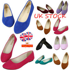 Womens Suede Dolly Pumps Flats Loafers Ladies Ballerina Ballet Shoes Size 3-5.5