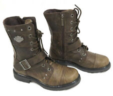 """Harley-Davidson Women's NIB """"Monetta"""" Olive Leather Laced Riding Boots D83861"""