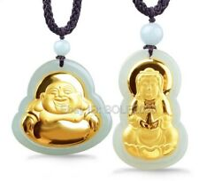 18K Gold Inlaid Carved Buddha GuanYin Natural HeTian Jade Pendant + Necklace