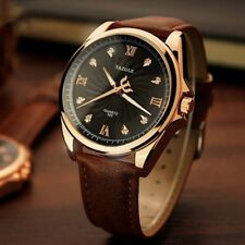 YAZOLE 325 Business Crystal Glass Large Round Dial Leather Band Quartz Men