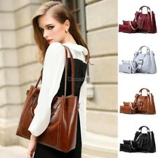 3pcs Women Oil Wax Synthetic Leather Handbag Set Composite Clutch Shoulder OK 01