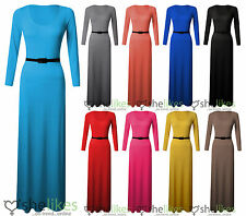 New Womens Ladies Long Sleeve Jersey Belted Long Maxi Dress Top Skirt