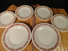 """PYREX VINTAGE SMALL PLATES, BROWN AND WHITE, 4 5 1/2"""" PLATES AND 2 6 3/4"""" Plates"""