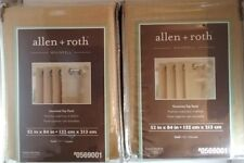 """2 PANELS ALLEN+ROTH WHINFELL GROMMET TOP PANEL GOLD 52"""" X 84""""  #569001 FREE SHIP"""