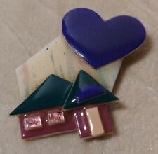 Vintage Pink Green House Pin By Lucinda Original Tag Purple Heart Resin Brooch