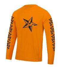 Wolfride star logo bike chain print, loose fitting technical wicking long sleeve