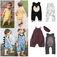 Infant Baby Girl Boy Sleeveless Dinosaur Romper Jumpsuit Outfits Clothes Set