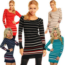 Ladies Knitted Dress Long Sweater Pullover S 34 36 Club Office Mini Fashion Warm