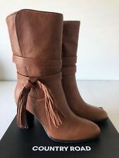 # Country Road #  danielle tassle leather boots chestnut brown - size: 37, 39  -