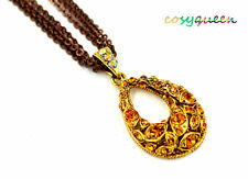 Swarovski Elements Crystal Amber Green Rose Drop Oval Chain Necklace Women Gift