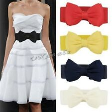 Womens Bow Knot Wide Stretch Buckle Waist Belt Lady Fashion Elastic Waistband