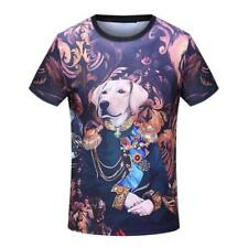 2018  Men's Dog Commanding Officer Cartoon Short Sleeve Casual Cotton T-Shirt