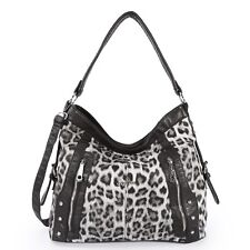 Angelkiss Leopard Pattern Handbags Two Top Zippers Shoulder Handbags Tote Bags