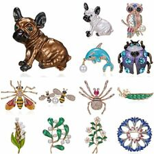 Fashion Animal Dog Insect Bee Owl Branch Brooch Women Pearl Pin Wedding Jewelry