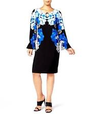 CALVIN KLEIN Blue Floral, Long Sleeve, Shift Dress.  NEW with Tags