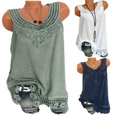 Women Ladies Sleeveless Blouse Lace Large Size Vest Tops Loose Casual Blouse 5XL