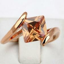 Square Orange Crystal Rose Gold Plated Ring Fashion Brand  Cubic Zirconia