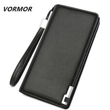 VORMOR leather wallet with strap high quality zipper wallets men famous brand