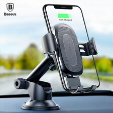 Baseus 2in1 Qi Wireless Car Charger Holder for iPhone X 8 Samsung S9 QI