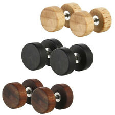 New Wood Stainless Steel Fake Cheater Ear Plugs Barbell Stud Earring Gauges