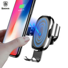 Baseus Car Mount Qi Wireless Charger For iPhone X 8 Plus Quick Charge Fast