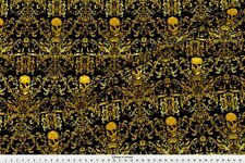 Faux Gold Skull Fabric Printed by Spoonflower BTY