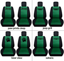 Fit JK wrangler  front car seat covers blk-emerald green  w/ jeep grill, sahara