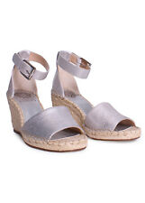 Vince Camuto Leera Andorra Leather Ankle Strap Espadrille Wedge Sandals in Metal
