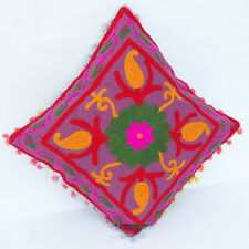 "EMBROIDERED VINTAGE HANDMADE SUZANI CUSHION COVER 16""SUZANI PILLOW CASE_PILLOW-C"