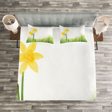 Floral Quilted Bedspread & Pillow Shams Set, Daffodils with Grass Print