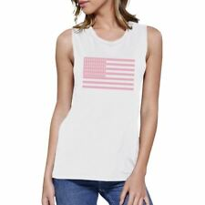 Breast Cancer Awareness Pink Flag Womens White Muscle Top