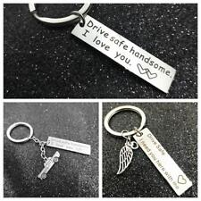 for Him Trucker Key Chains Drive Safe Handsome Keyring Stainless Steel Pendant