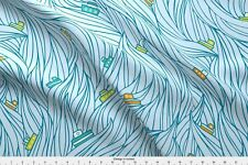 Boats Waves Ships Sailboats Ocean Waves Sea Fabric Printed by Spoonflower BTY