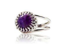 10mm Natural Amethyst Gemstone 925 Sterling Silver Birthstone Ring Women Jewelry