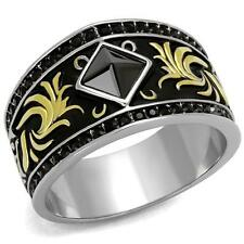 Men's Stainless Steel Ion Plated Black & Gold Colored Ring Leaf Design