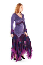 New Long Sleeve Velvet Patchwork Dress Bohemian Pagan Clothes Up To Plus Size