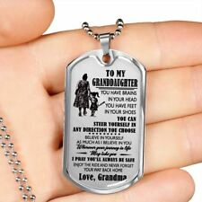 To My Granddaughter Dog Tag - Silver/18k Gold Plated Pendant Necklace - Grandma