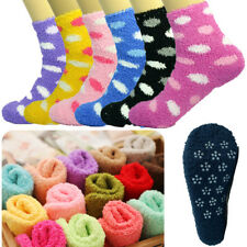 For Womens 3-10 Pairs Non-Skid Cozy Fuzzy Soft Dots Slipper Socks Size 9-11