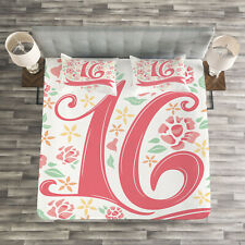 Floral Quilted Bedspread & Pillow Shams Set, Floral Sweet Sixteen Print